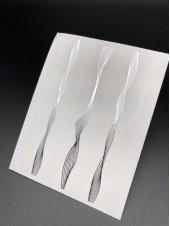 """3D наклейки для дизайна ногтей """"Волна"""" (белые+серебро)"""