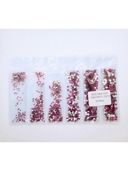 Стразы Crystal Fuchsia ss3/4/6/8/10/12. Упаковка около 1728 шт.
